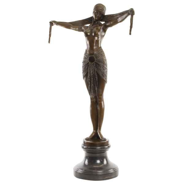 Bronzeskulptur Schaltänzerin Figur Moderne Skulptur Artdeco-Antik-Stil 73cm