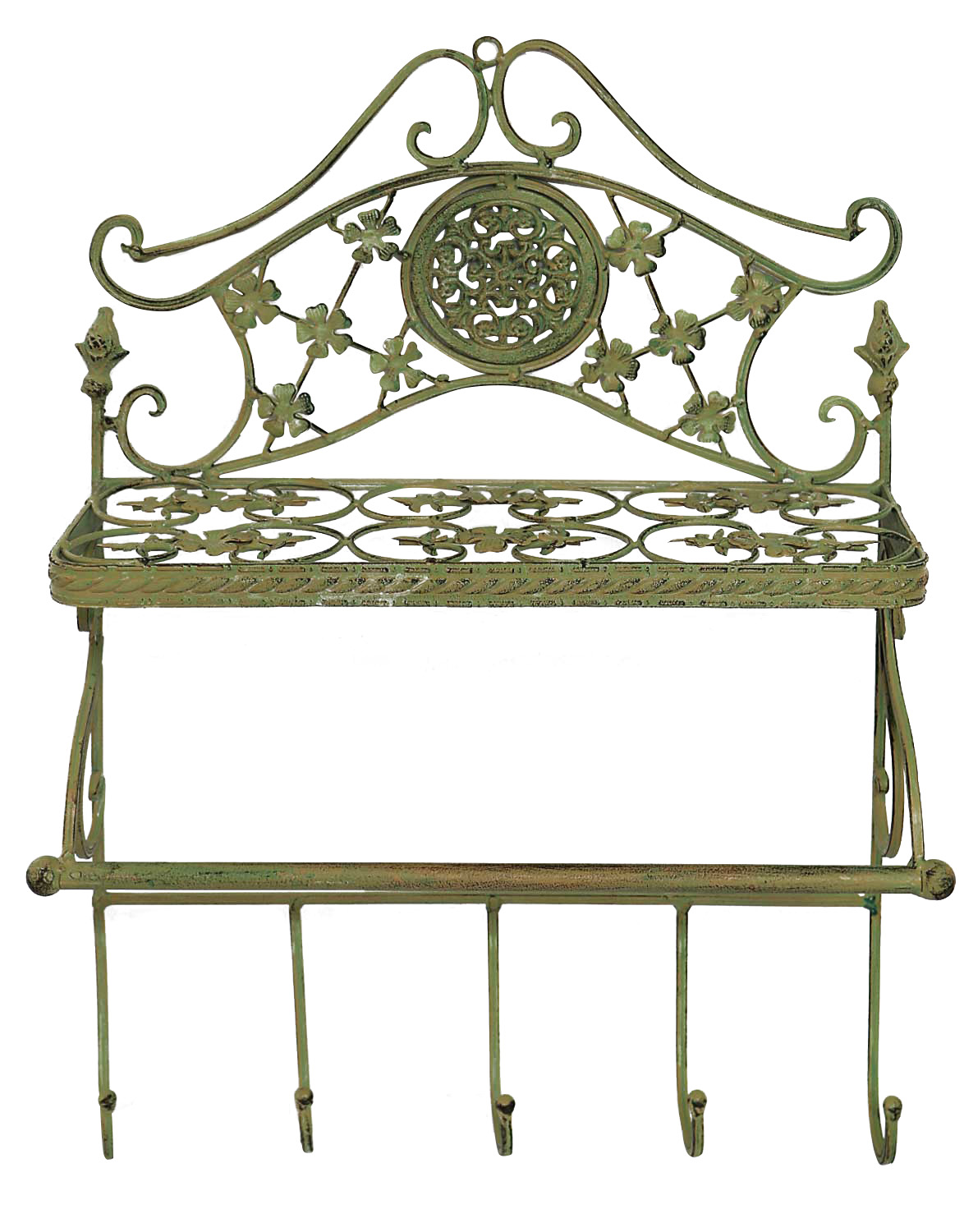 mur garde robe fer murale style antique vert jardin portemanteaux vestiaire aubaho. Black Bedroom Furniture Sets. Home Design Ideas