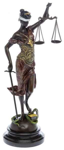 Bronzestatue Justitia Bronzeskulptur Bronze sculpture Antik-Stil farbig color