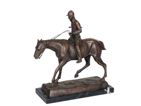 Bronze Skulptur Figur Pferd Reiter Jockey 9,4 kg Bronzeskulptur Bronzefigur