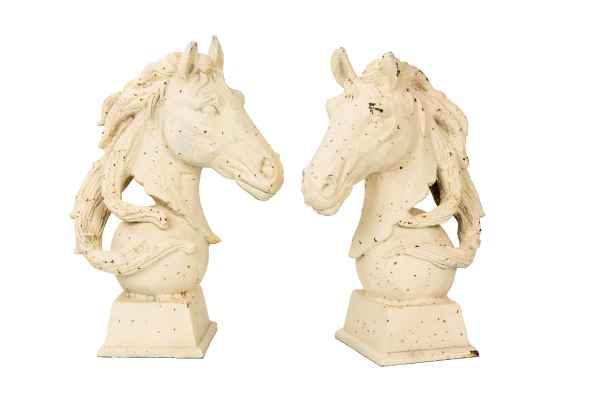 2x Pferdekopf Skulptur Figur 28kg Pferd Eisen Büste Garten sculpture iron horse