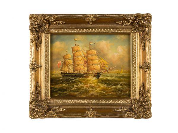 Original Ölgemälde Dreimaster Segelboot Schiff Meer Gemälde Antik-Stil 36x31cm