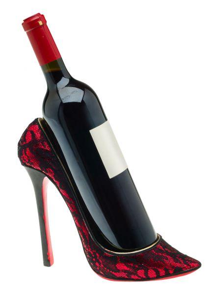 Flaschenhalter Damenschuh Schuh High Heel Wein Sekt Weinflaschenhalter Pump Rot