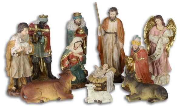 Set 11-teilig Krippenfiguren Krippe Weihnachten Weihnachtskrippe handbemalt 26cm