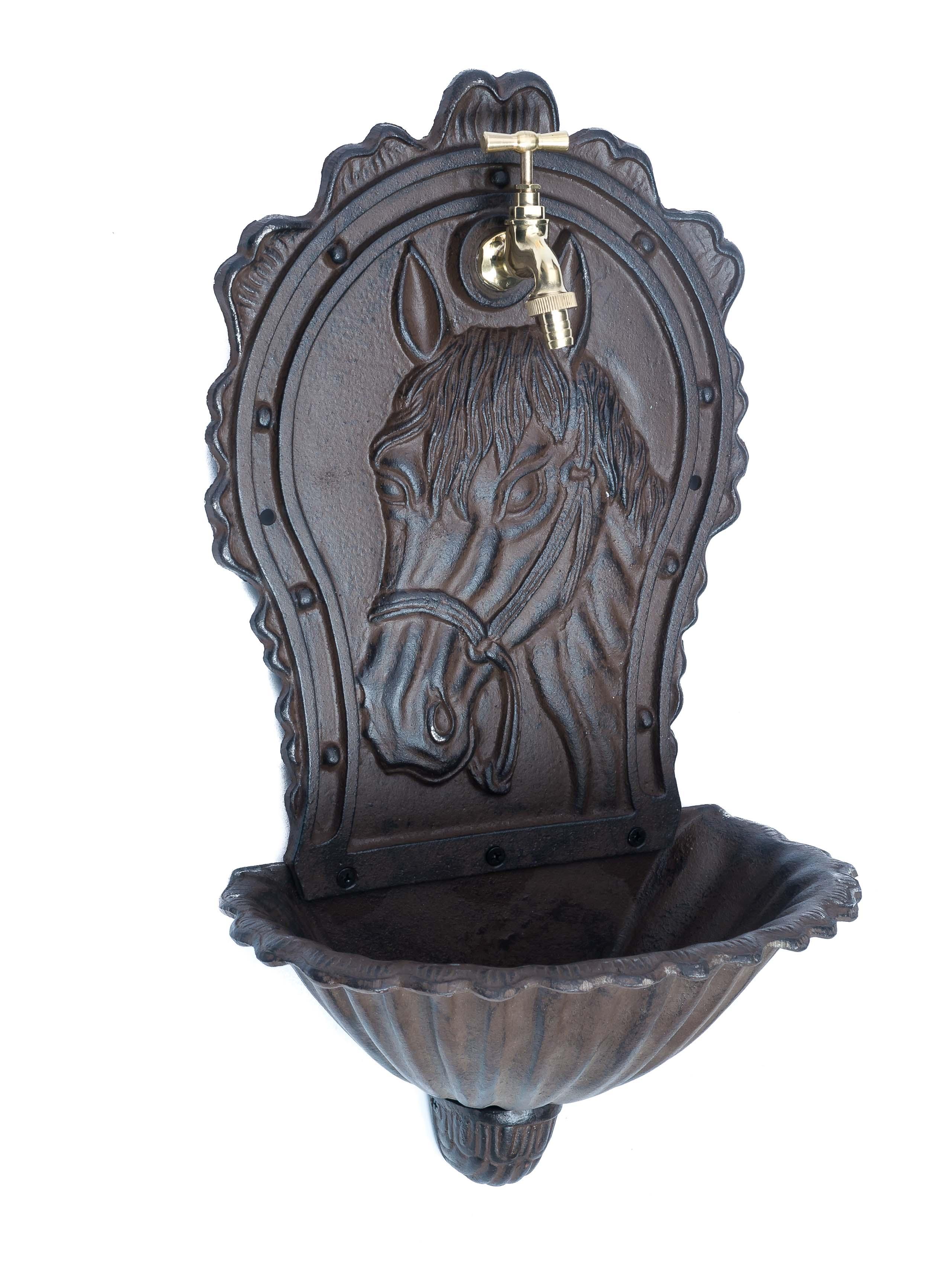 Brunnen Wandbrunnen Aluminium Waschbecken im Nostalgie schwarz Antik-Stil 72cm