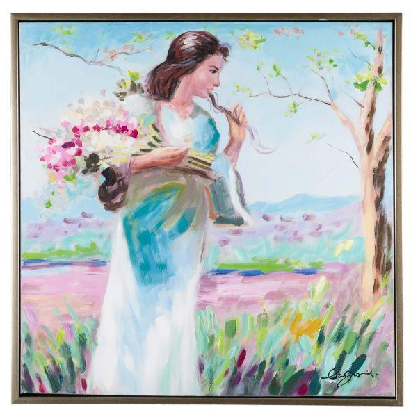 Original Gemälde Ölgemälde mit Rahmen Mädchen mit Blumen modern 84cm