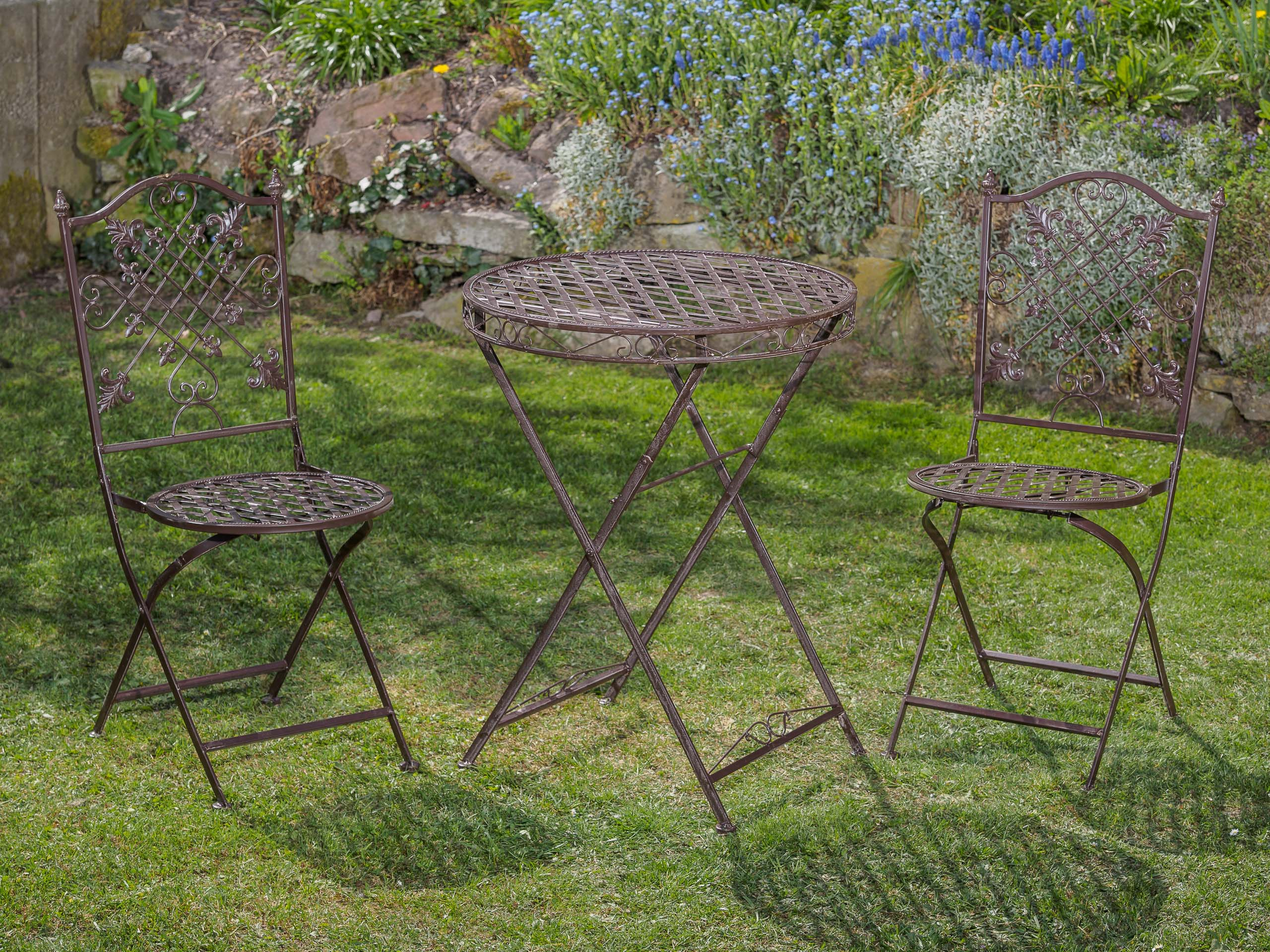 gartentisch und 2 st hle set metall nostalgie antik stil. Black Bedroom Furniture Sets. Home Design Ideas