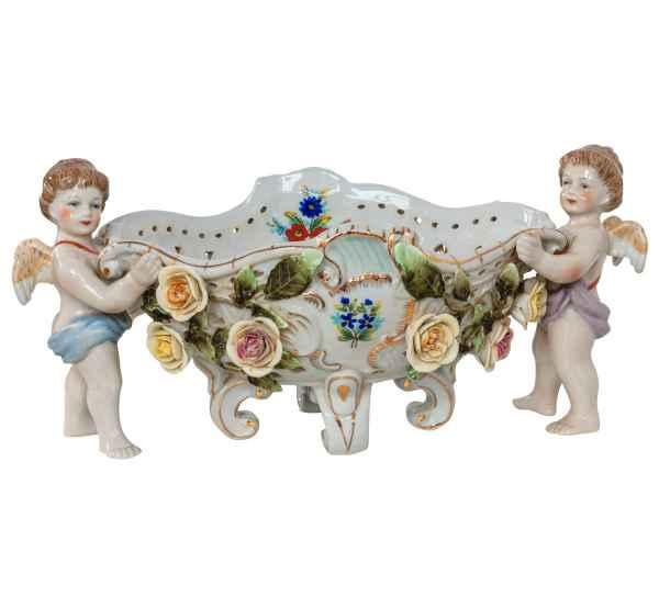 Schale Pflanzschale Engel Blumen Porzellan Antik-Stil