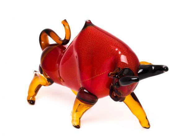 Stier aus Glas Figur rot Taurus glass bull Dekoration große Skulptur 48 cm