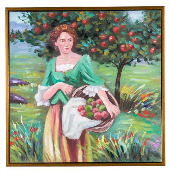 Original Gemälde Ölgemälde Mädchen bei Apfel Ernte mit Rahmen modern 84cm