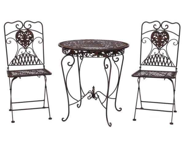 Gartentisch + 2x Stuhl Eisen Antik-Stil Bistromöbel Gartenmöbel braun