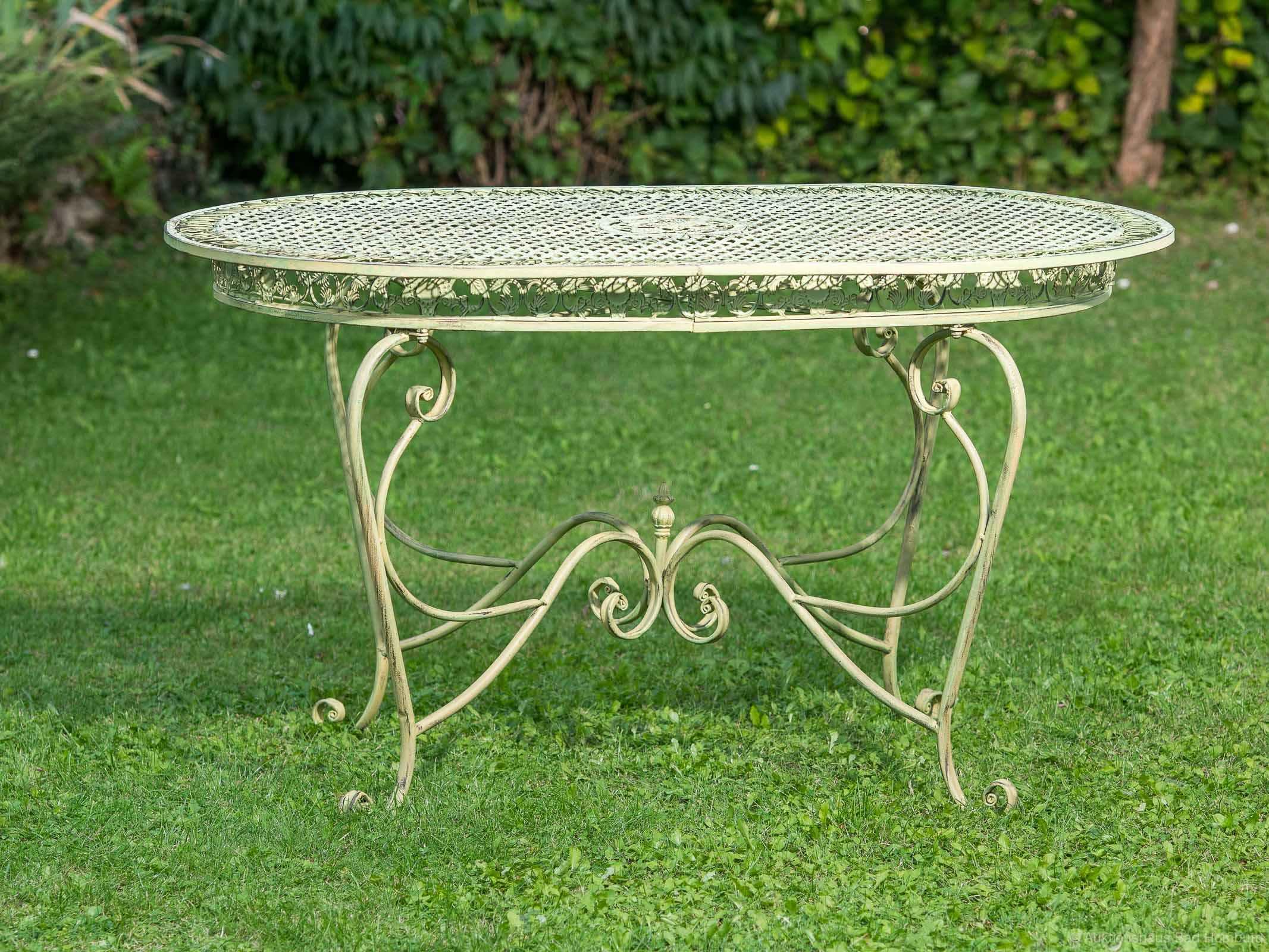Gartentisch 135cm Eisen Tisch Gartenmobel Grun Antik Stil Garten