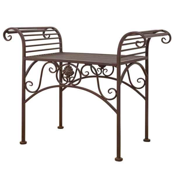 Gartenbank Eisen Metall Antik-Stil Garten Bank Gartenmöbel braun 70cm