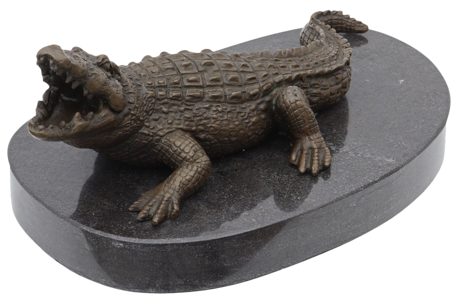 Skulptur Bronze Krokodil Alligator
