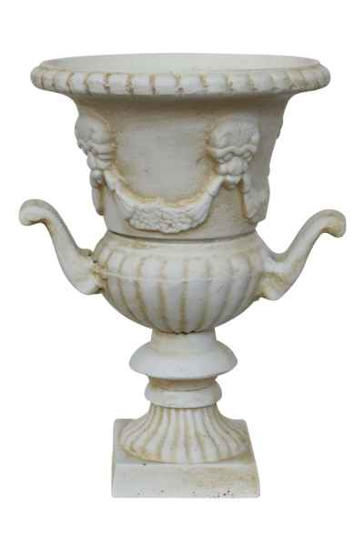 Amphore 33cm Pflanzkübel Blumentopf Blumenkübel Eisen Antik-Stil weiss