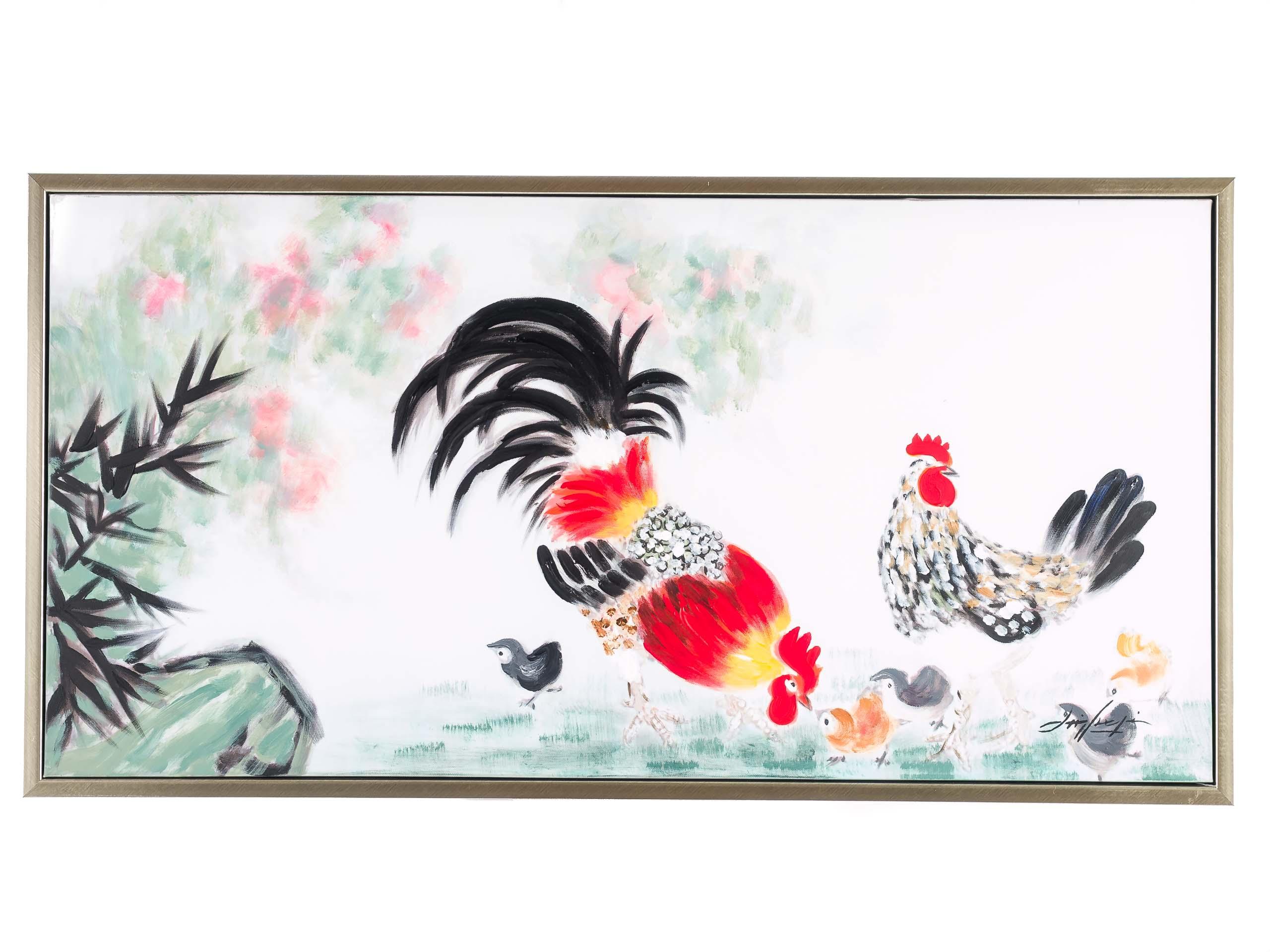 Original Gemälde Ölgemälde Hahn Huhn Küken mit Rahmen modern 104cm