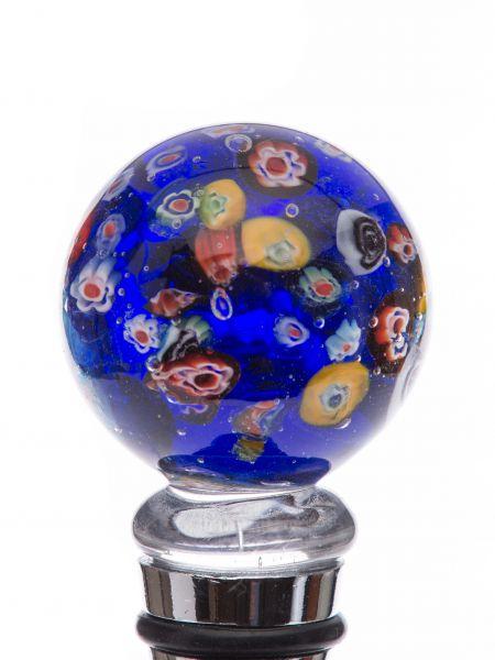 Flaschenverschluss Glaskorken Glasverschluss blau Murano Stil bottle stopper