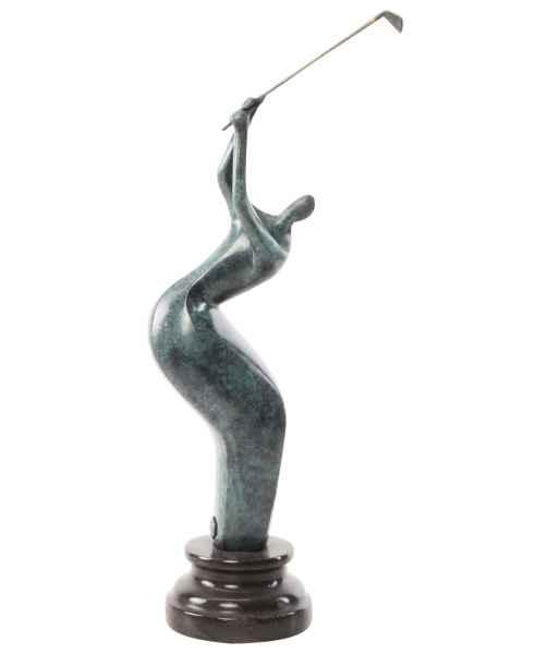 Bronzeskulptur Golfer Stein Moderne Skulptur Figur Statue Antik-Stil 41cm