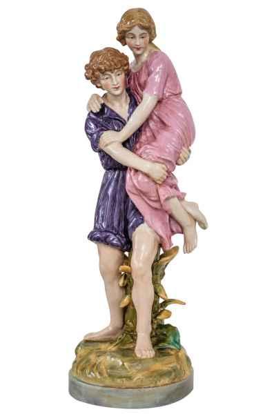 Porzellan Skulptur Uhu Eule Tierwelt Figur 23cm antik Stil