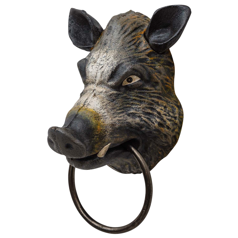 Handtuchhalter Wildschwein Kopf Figur Skulptur Eisen Antik-Stil 18cm
