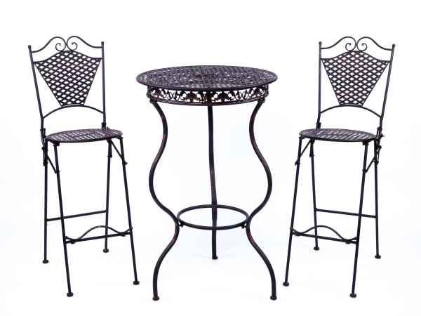 Gartenmöbel Eisenmöbel Stehtisch mit zwei Barhocker antik Stil Eisen braun