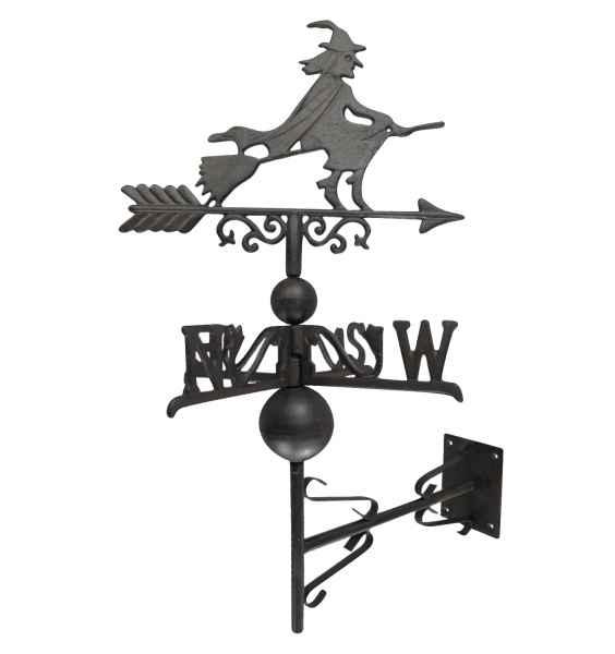 Nostalgie Wand Wetterhahn Hexe Garten Dekoration Windrad Eisen Wetterfahne braun