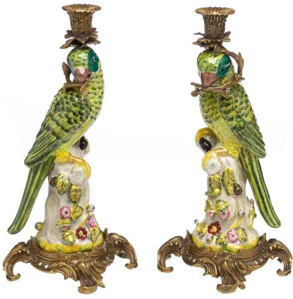 Paar Papagei Kerzenständer Porzellan antik Stil Kerzenleuchter 37cm candlestick
