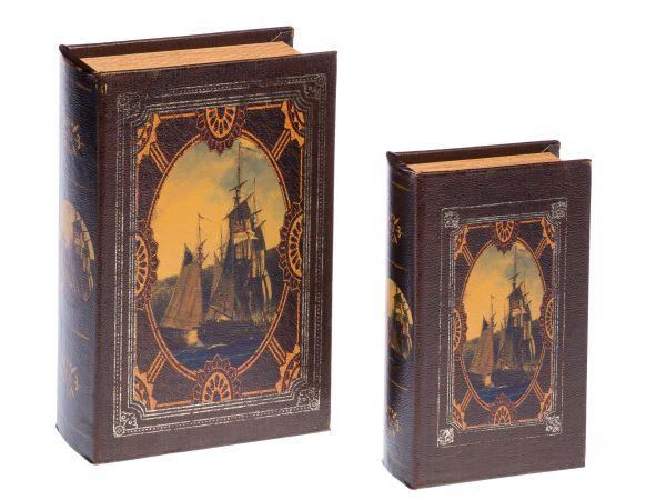 2 Schatulle Holz Box in Buchform Schmucketui Buch Schiff Segelschiff Antikstil