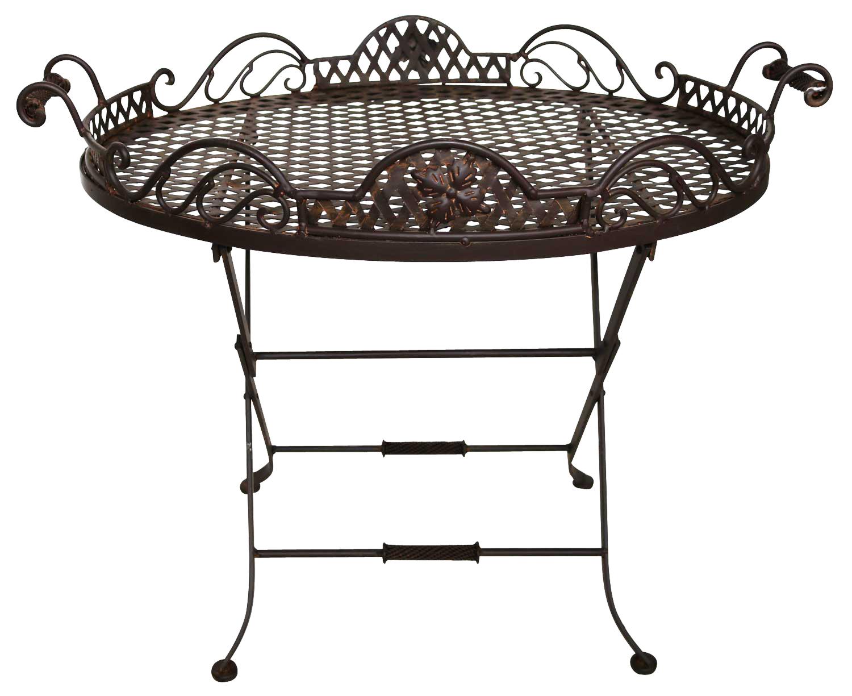 Butlers tray table salon de jardin d\'appoint fer style antique desserte  plateau