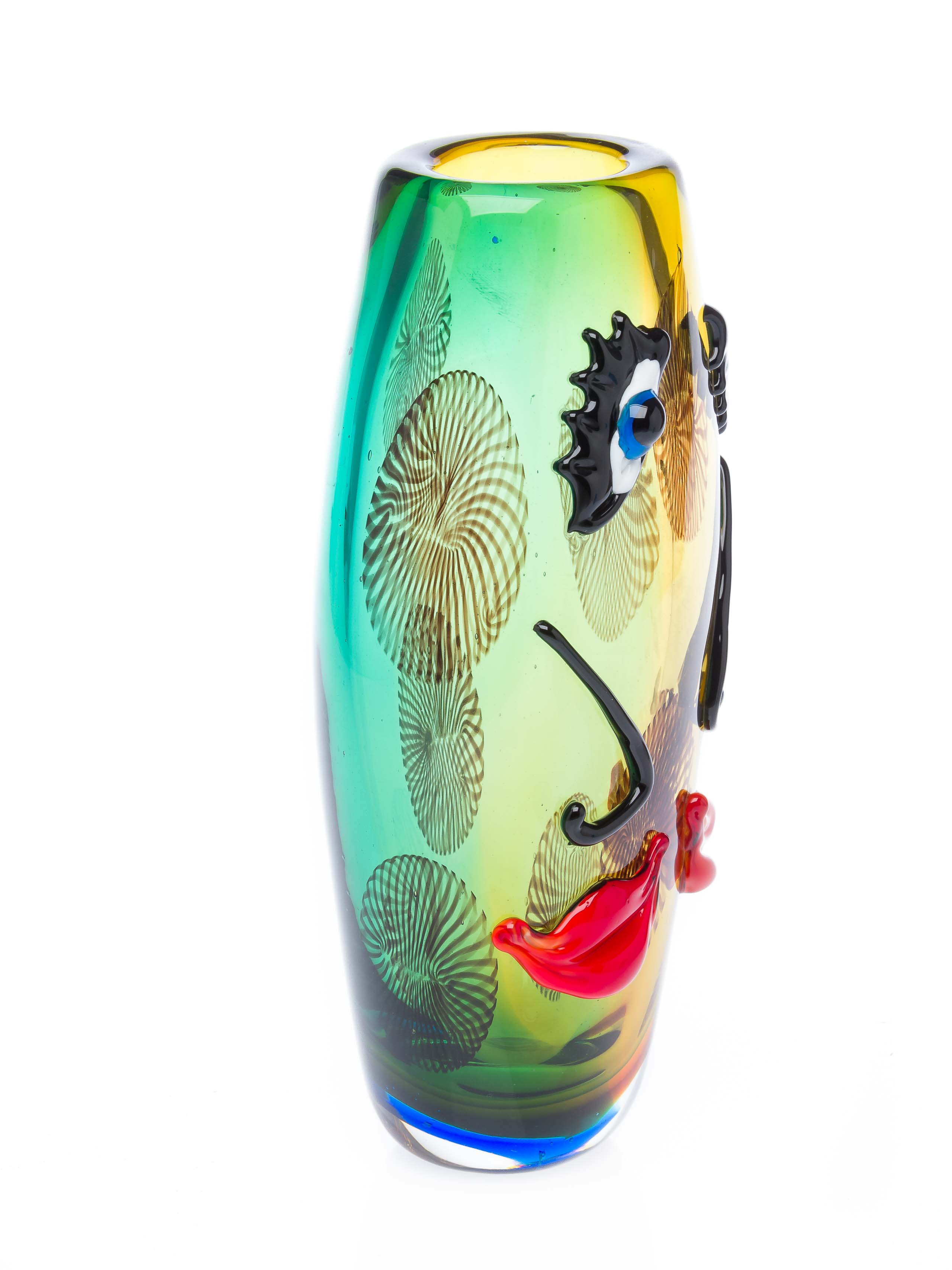 Glasvase Tischvase Gesicht moderne Kunst im Murano Stil Vase Blumenvase Glas