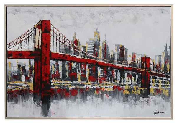 Huge Original Oil Painting Brooklyn Bridge New York Usa 124cm
