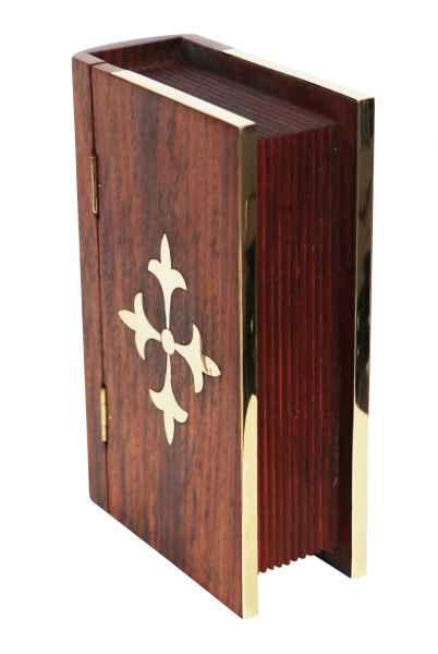 Buchattrappe Box Schmuckschatulle Maritim Nautik Schiff Holz 18cm Antik-Stil