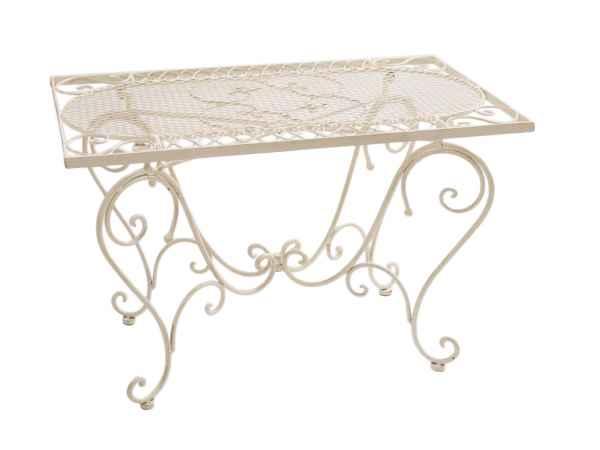 Nostalgie Gartentisch Schmiedeeisen 12kg Tisch Loungetisch antik Stil weiß iron