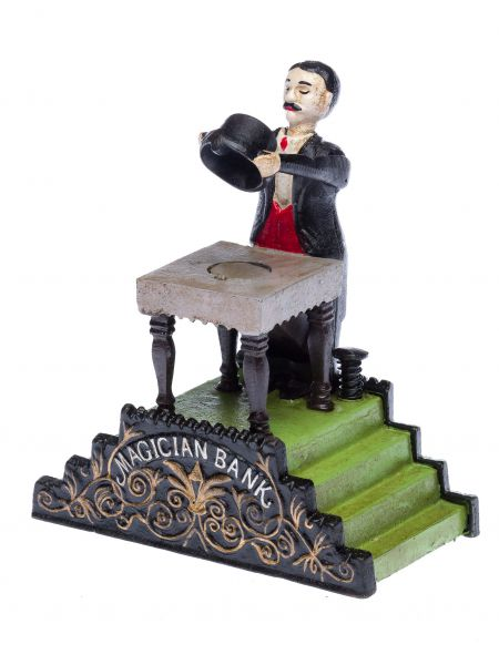 Spardose Zauberer zaubern Eisen Nostalgie antik Stil moneybox magic magician