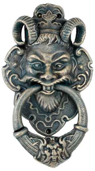 Türklopfer Teufel Faun Figur Skulptur Eisen im Antik-Stil - 35cm