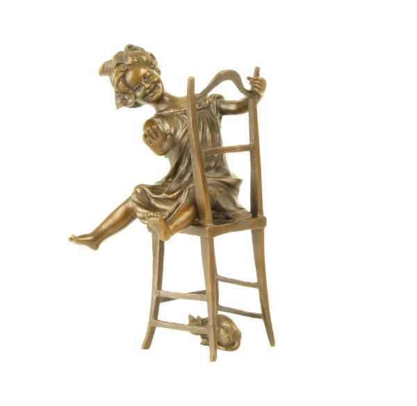 Bronzeskulptur Mädchen Katze im Antik-Stil Bronze Figur Statue 21cm