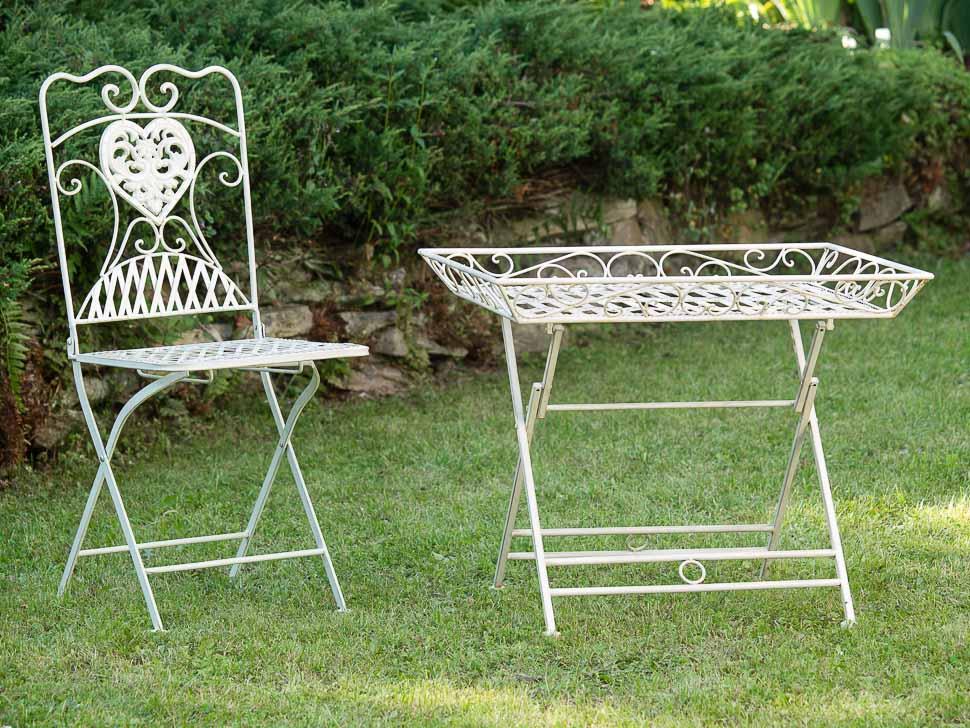 Gartentisch Schmiedeeisen Tisch Klapptisch Beistelltisch Antik Stil