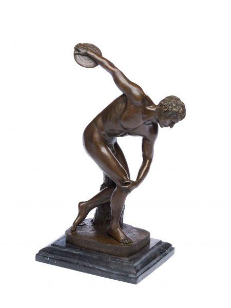 Bronzeskulptur Diskuswerfer Mann Akt Erotik Olympia Figur Bronze Antik-Stil
