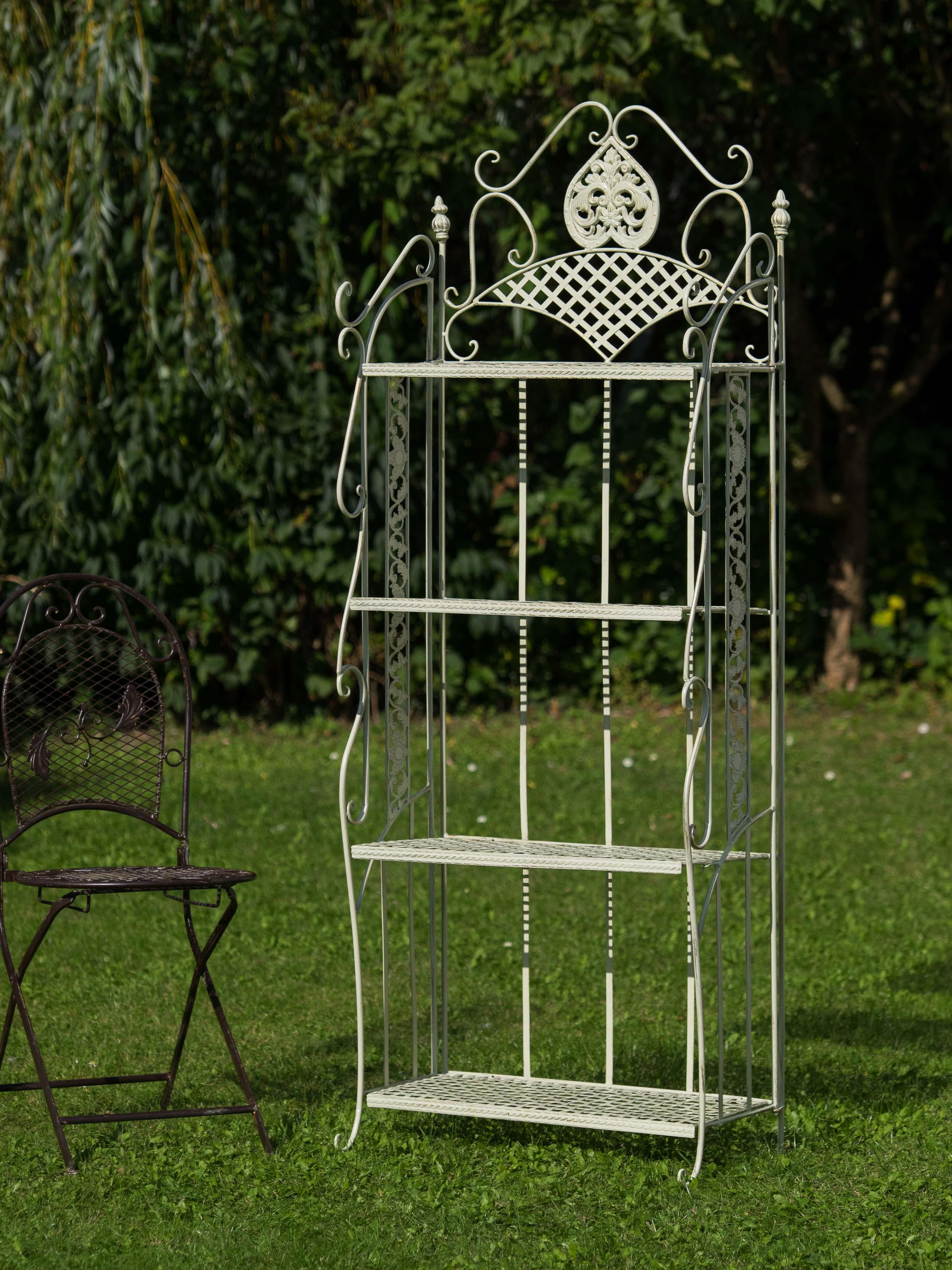 Etagère jardin fer forgé 175cm blanc creme style antique