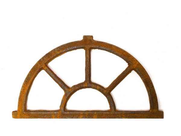 fonte//rouille style antique Fenêtre ornementale demi-lune 35 x 64 cm