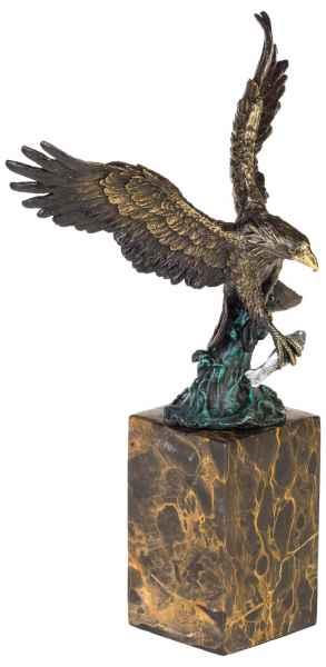 Bronze Skulptur Figur Adler Seeadler Königsadler Fisch Eagle Bronzeskulptur