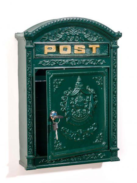 Briefkasten Wandbriefkasten Alu Nostalgie Postkasten grün antik Stil letterbox