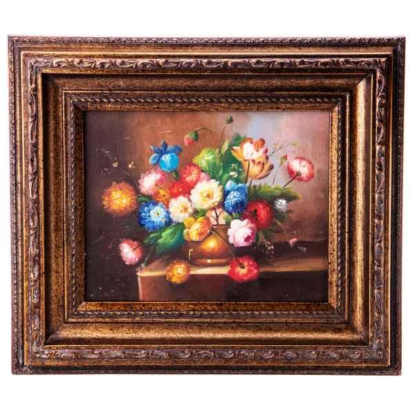 Original Gemälde Blumen Stillleben Ölgemälde mit Rahmen Ölbild Antik-Stil 38cm