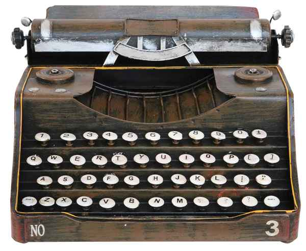 Schreibmaschine Dekoration ohne Funktion Metall Antik-Stil 32cm Modell
