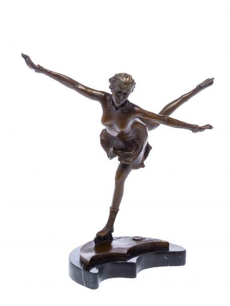 Bronze Skulptur nach Ferdinand Preiss Eiskunstlauf Schlittschuhe art deco style