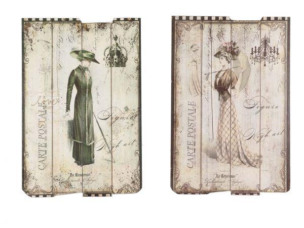 2x Bild Wandtafel Tafel Holzbild Wandbild antik Stil Schneider Mode Fashion