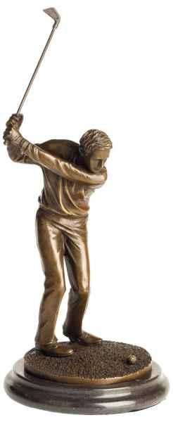 Bronzeskulptur Antik-Stil Golf Golfer Mann Abschlag Bronze Figur Statue - 33cm