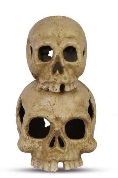 Kerzenständer doppelter Totenkopf Kerzenhalter Figur Eisen Antik-Stil 18cm