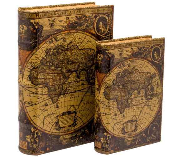 Schatulle Weltkarte Holz Buchattrappe Box Kästchen Schmucketui Buch Antikstil