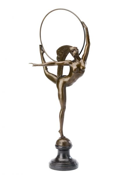 Statuette de danseuse - style antique/art déco - bronze - 67 cm